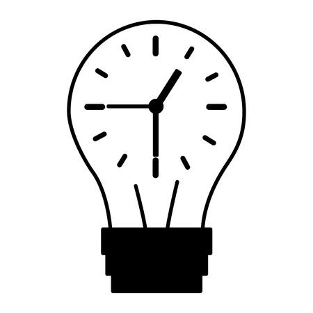 clock inside bulb time creativity vector illustration
