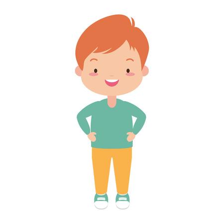 smiling schoolboy character on white background vector illustration Çizim
