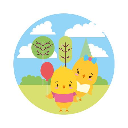 cute couple chicken landscape cartoon vector illustration design