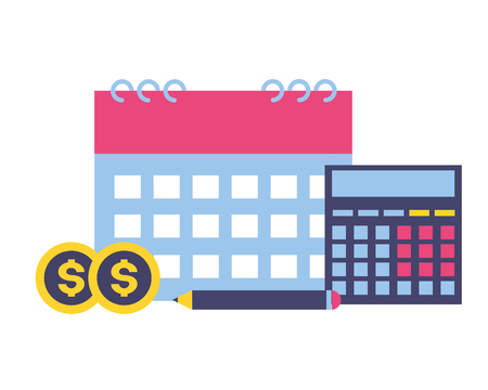 tax payment calendar calculator money vector illustration