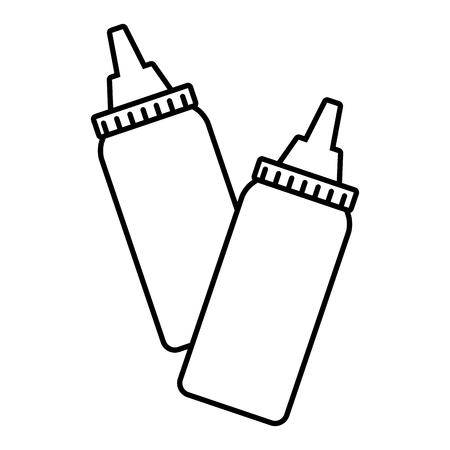 butelki sosu liniowe na białym tle ilustracji wektorowych Ilustracje wektorowe
