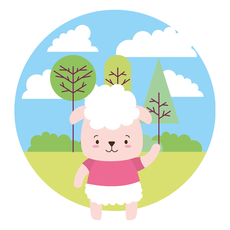 cute sheep cartoon landscape vector illustration design