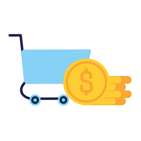 shopping cart with coins vector illustration design Ilustração