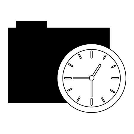 work folder clock time business vector illustration