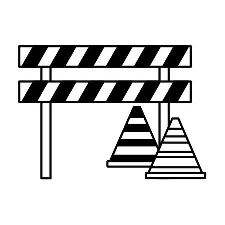barricade repair construction traffic triangles vector illustration