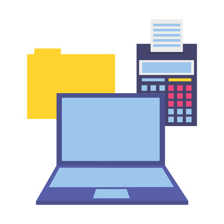 laptop calculator folder file tax payment vector illustration