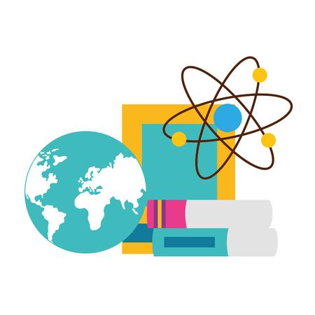 school map books molecule supplies vector illustration design
