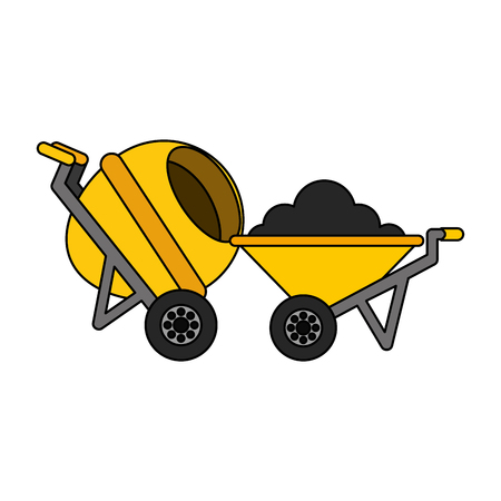 construction wheelbarrow concrete mixer equipment vector illustration Illustration
