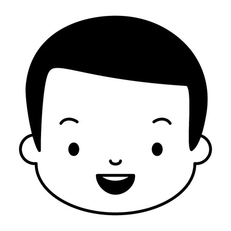 smiling man face on white background vector illustration design