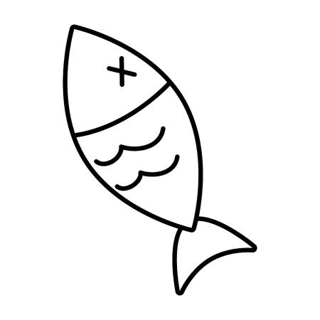 Icono de vida silvestre de peces en la ilustración de vector de fondo blanco