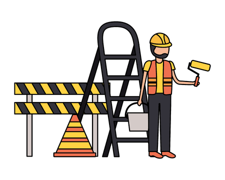 worker roller paint barricade stairs tool construction vector illustration