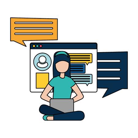 woman with laptop computer avatar character vector illustration desing Ilustração