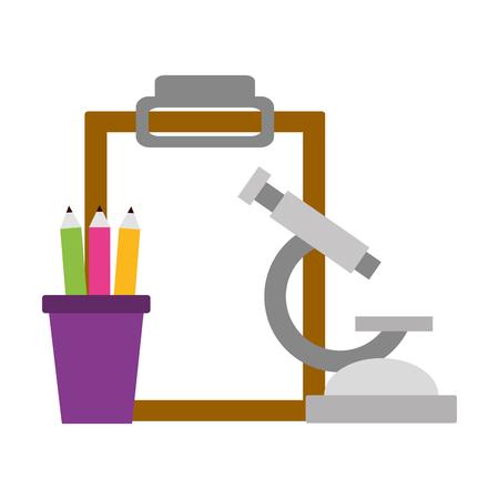 school microscope pencils clipboard supplies vector illustration design Çizim