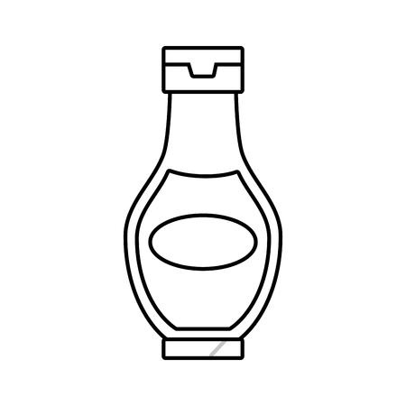sauce bottle fast food white background vector illustration