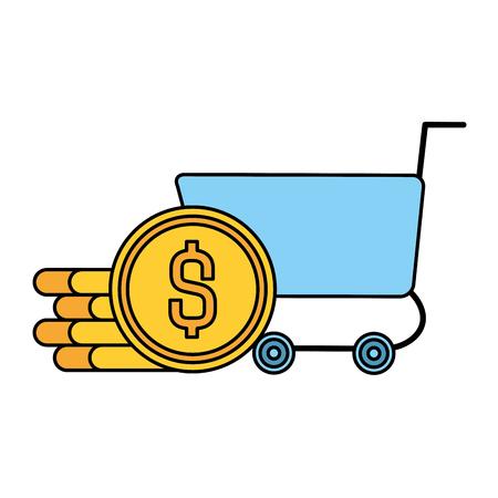 Carro de compras con monedas, diseño de ilustraciones vectoriales