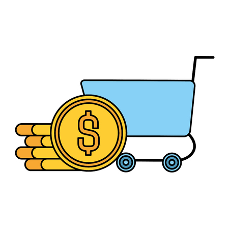 shopping cart with coins vector illustration design Illustration