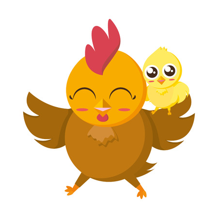 cute hen and chick cartoon vector illustration Çizim