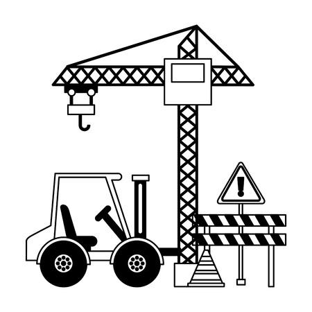 crane barrier forklift truck construction equipment vector illustration
