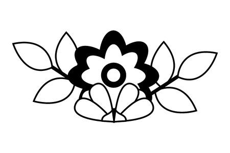 flower leaves decoration on white background vector illustration