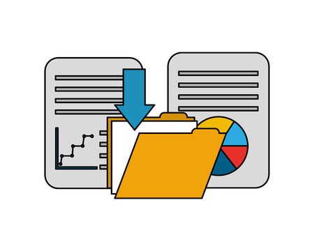 folder with documents and statistic graphic vector illustration design Illustration