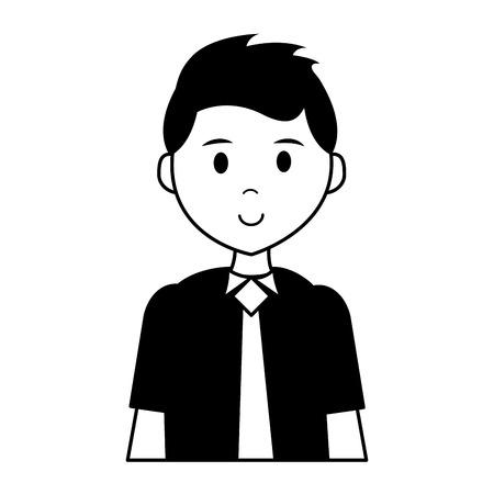 Hombre vestido con corbata en la ilustración de vector de fondo blanco