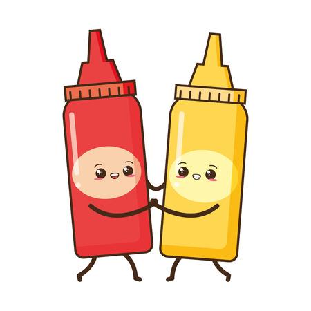 kawaii sauces love fast food cartoon vector illustration