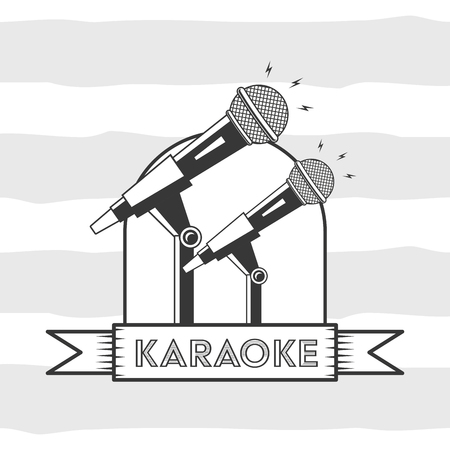 microphone karaoke retro style background vector illustration 向量圖像