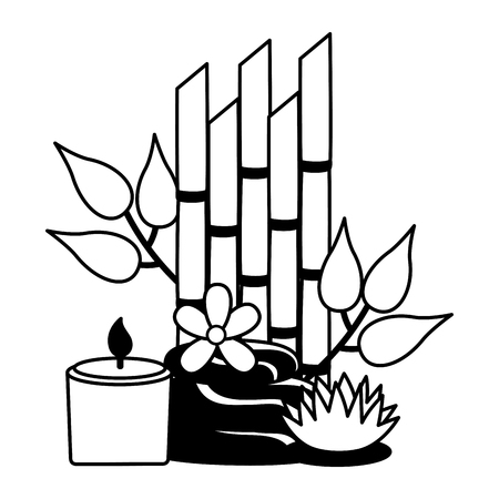stones candle flowers bamboo spa therapy vector illustration Illustration