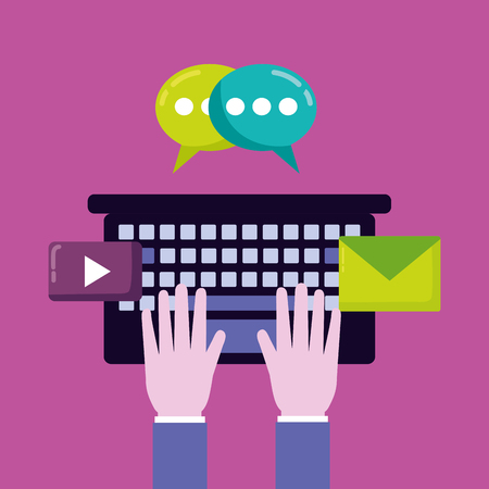 hands typing keyboard email chatting social media vector illustration Illusztráció