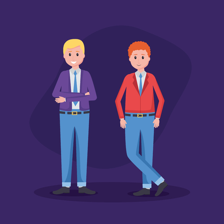 men employee character office vector illustration design