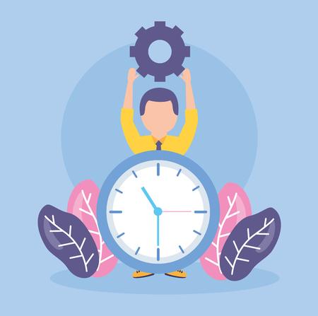 businessman clock creativity gears work vector illustration Stock Vector - 122836564