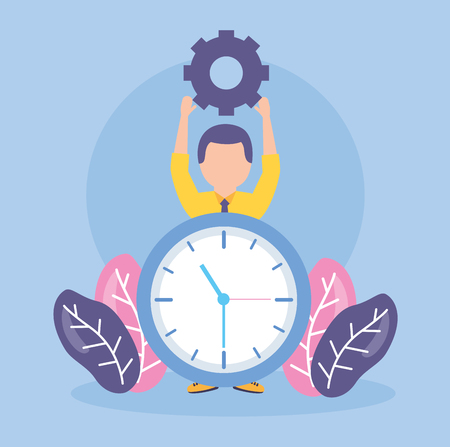 businessman clock creativity gears work vector illustration