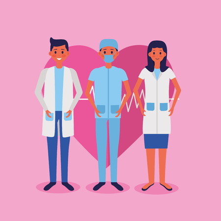 medical people staff heartbeat health vector illustration Archivio Fotografico - 122836571