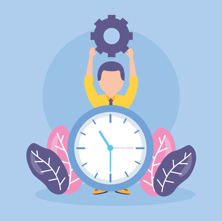 businessman clock creativity gears work vector illustration