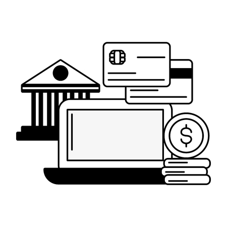 computer bank cards money online payment vector illustration Ilustração
