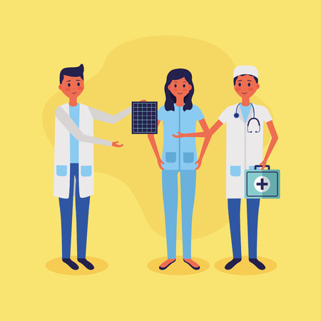 medical people staff female doctor nurse xray kit vector illustration