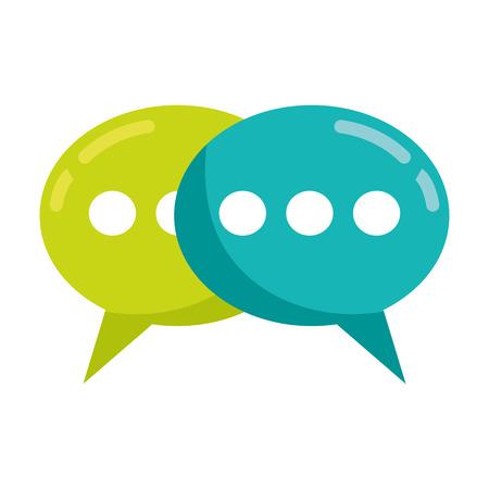 Sprechblasen sprechen auf weißer Hintergrundvektorillustration