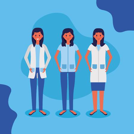 personal médico, doctora, enfermera, vector, ilustración