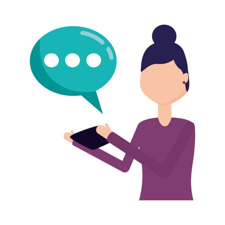 woman using mobile chatting social media vector illustration Stockfoto - 122836626
