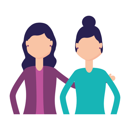 women characters portrait on white background vector illustration