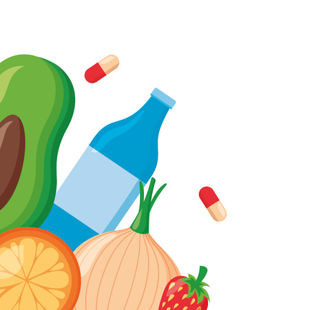 medical sport food world health day vector illustration Çizim
