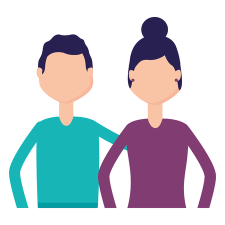 man and woman portrait on white background vector illustration