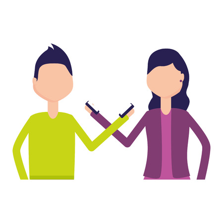man and woman with mobile social media vector illustration Illustration