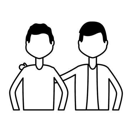 men characters portrait on white background vector illustration Foto de archivo - 122836641