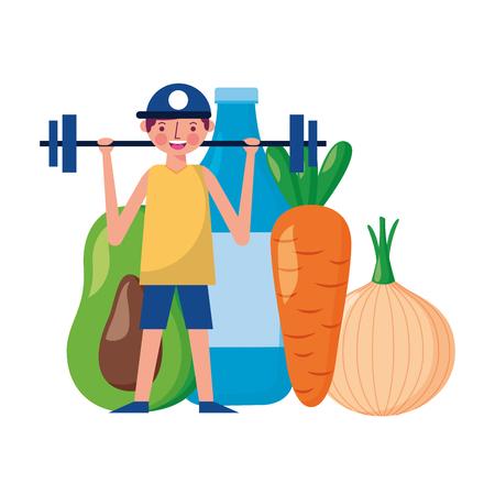 man and barbell fruit vegetable world health day vector illustration Foto de archivo - 122836643
