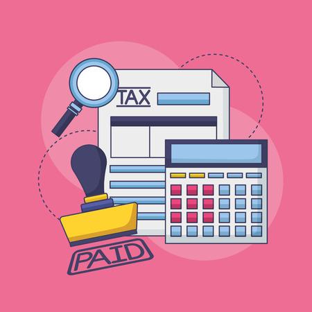 tax payment document invoice paid stamp calculator vector illustration Ilustração