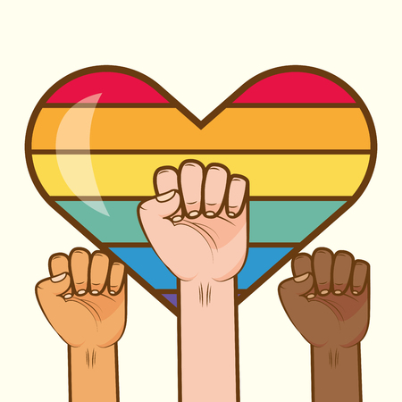 hands with rainbow colors lgbt pride love vector illustration  イラスト・ベクター素材