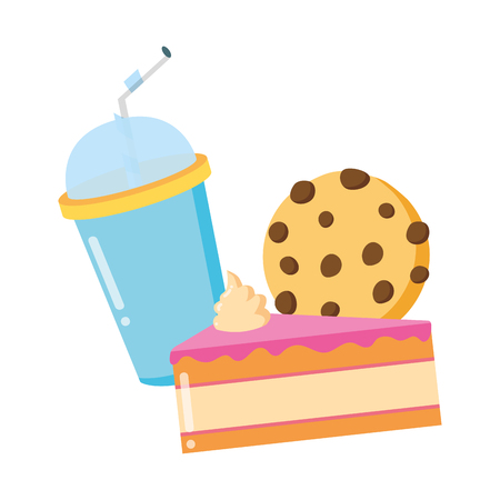 cake cookie soda fast food white background vector illustration