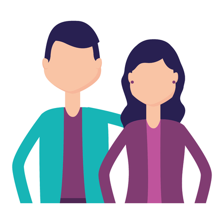 man and woman portrait on white background vector illustration Фото со стока - 122836665