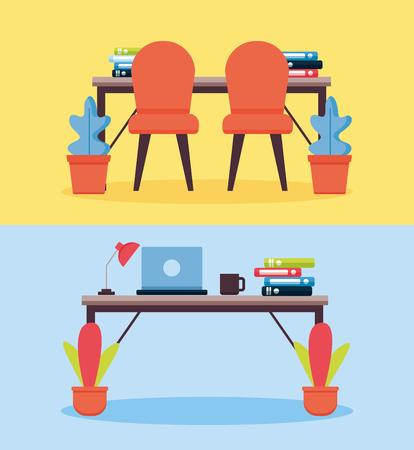 office interior workplace furniture banner vector illustration design 일러스트